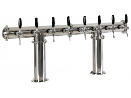 Výčepní stojan T8 nerez komplet s pákovými kohouty a LED medailony