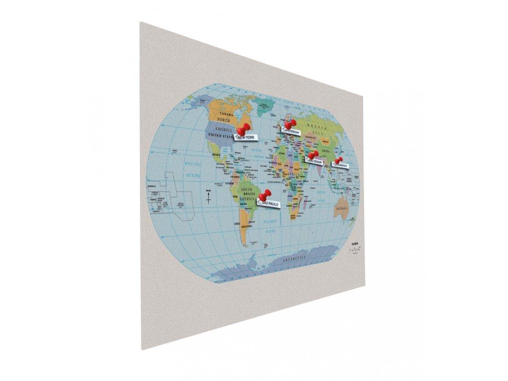 Nástěnka Bulletin Float - 90×120 cm - mapa světa