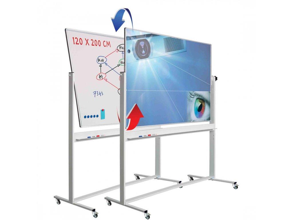 Otočná projekční tabule, bílá/MICA - 200×120 cm - pojízdná