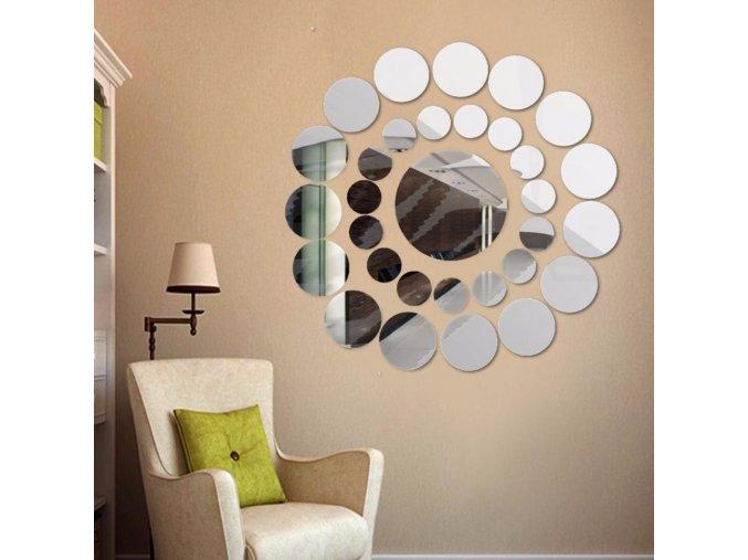 zrcadlove nalepky na zed zrcadlo okno skrin nalepky kolecka mnohouhelnik viceuhlenik kolo kruhy krouzky na zed dekorace ozdoba interier