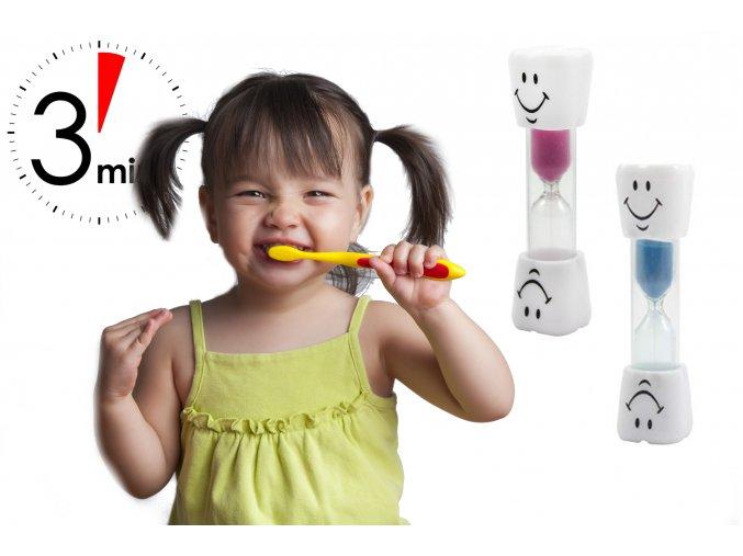 Přesýpací hodiny na čištění zubů