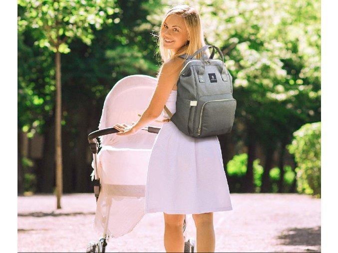 batoh pro maminky šedý šedivý šedomodrý dárek na kočárek pro miminko pro maminku rodiče pro dítě praktický batůžek na plenky plínky pleny lahvičky 0006147 batoh pro maminky modrosedy