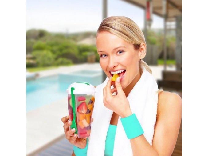 salát nádoba na oběd salátová mísa kelímek na cesty cestovní s vidličkou set sada svačina zdravá zdravý fit fitness