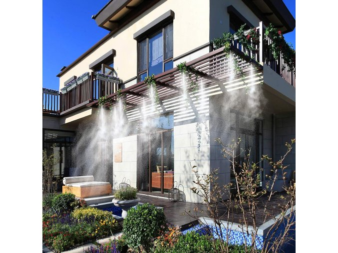 Patio Mist Kit 3 zavlazovani zahrada osvezeni mlha rostliny chata dum ochlazeni leto horko