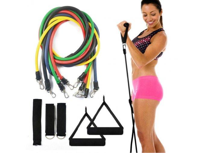 posilovaci gumy posilovani doma domaci posilovna posilovani svalu New Health Equipment 11 Pcs Set Latex Resistance Bands Workout Exercise Pilates Yoga Crossfit Fitness Tubes Pull Rope 8