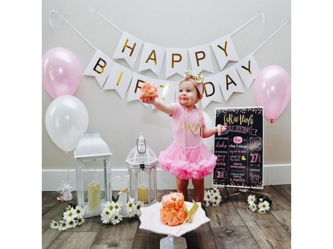 narozeninova girlanda bila happy birthday vyzdoba narozeniny oslavy vsechno nejlepsi