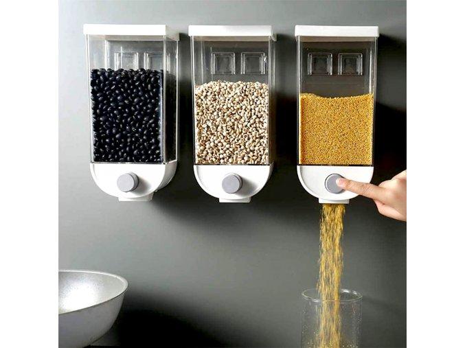 davkovac na cerealie lusteniny suche potraviny doza na zed zavesny organizer kavu kafe na sladkosti musli ryze testoviny do kuchyne