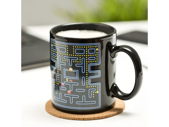 hrnek retro pacman pac-man pac man hrnek pro fanoušky herní hráče k narozeninám vánocům retro nostalgie  eng pl Retro game mug arcade color changing 1345 1