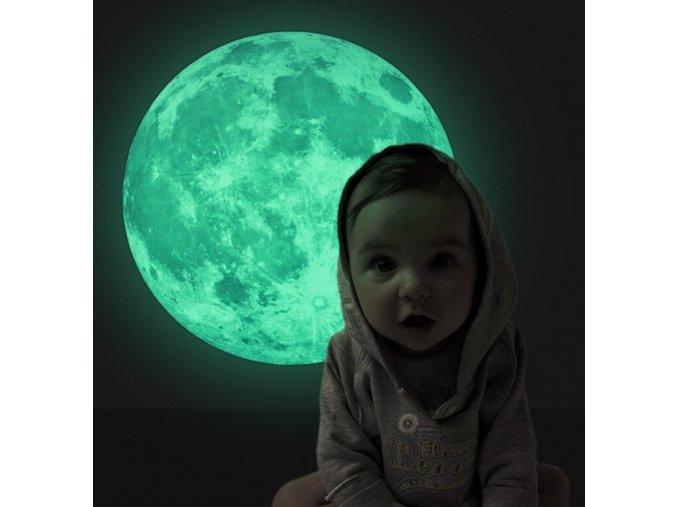 samolepka měsíc svítící nálepka na zed na stěnu do pokojíčku pro děti velká tapeta nálepka samolepka fosfor fosforující 30cm Night Luminous font b Moon b font Toys Glowing 3D Fluorescent font b Moon b
