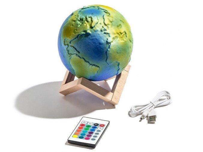 3d lampa země lampička zeměkoule 3d tiskárna svítící globus original doplněk designeng pl 3D lamp nabíjení 16 barev usb EARTH 2742 1