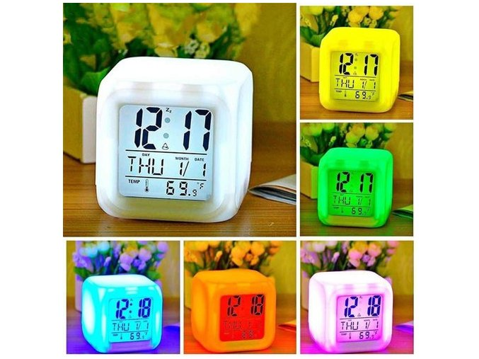 okaeya digital square shape color changing alarm table clock white 500x500