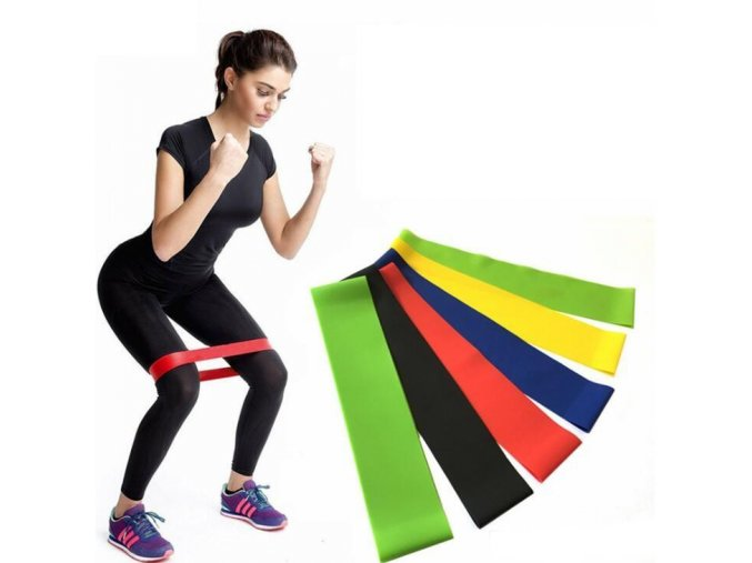 sada posilovacich gum band exercise resistance belt cviceni posilovani gumy sada set 5 kusu barevne gumycuky