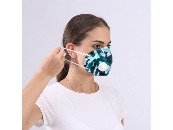 s ventilem respirator ffp2 kn95 kn 95 s vydechovym ventilem ventilkem prodysny barevny maskacovy moderni na gumicky