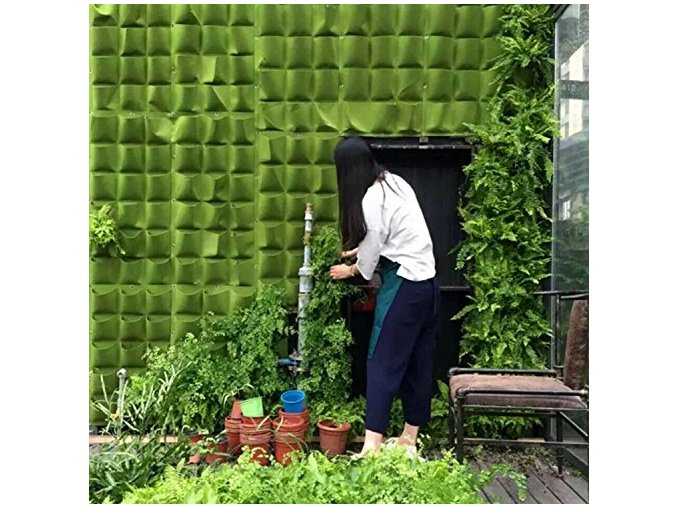 plant bags wall hanger herb pocket zavesna kapsa z plste na dvere na zed na balkon na plot kapsy pro pestovani rostlin bylinek kvetin nastenne