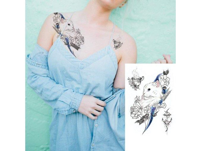 vodeodolne tetovani pro zeny damske holcici kocky kocici kocka lebka kvetiny na leto summer tattoo