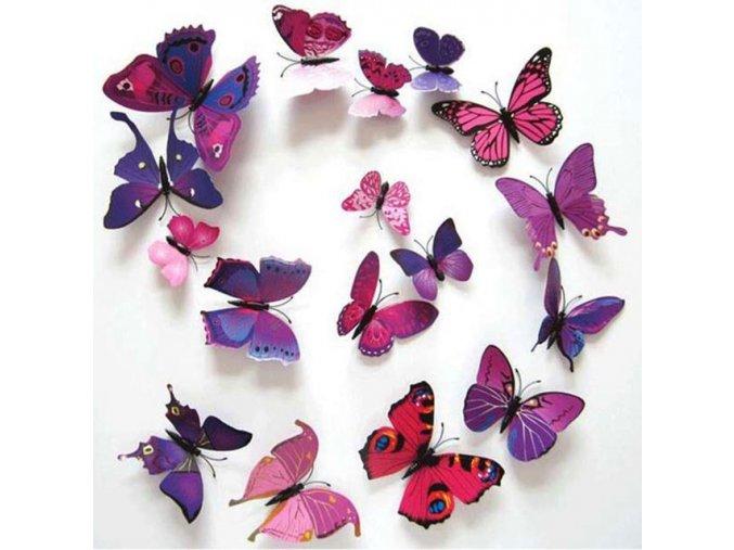 3d motyl motylci na ze na stenu na magnet nalepovaci samolepici magneticky barevny motyl cerny fialovy cerveny dekorace ozdoba samolepka