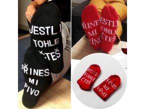 ponožky přines mi pivo přines mi víno pivaře pro vinaře pro muže pro ženy vtipné ponožky dárek tip na vánoce k narozeninám vtip
