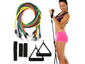 posilovaci gumy posilovani doma domaci posilovna posilovani svalu New Health Equipment 11 Pcs Set Latex Resistance Bands Workout Exercise Pilates Yoga Crossfit Fitness Tubes Pull Rope 8