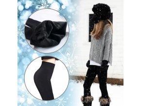 zimní thermo termo legíny hřejivé s kožíškem s kozesinkou hunate divci damske pro holky cerne 0019305 zimni leginy