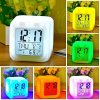 okaeya digital square shape color changing alarm table clock white 500x500