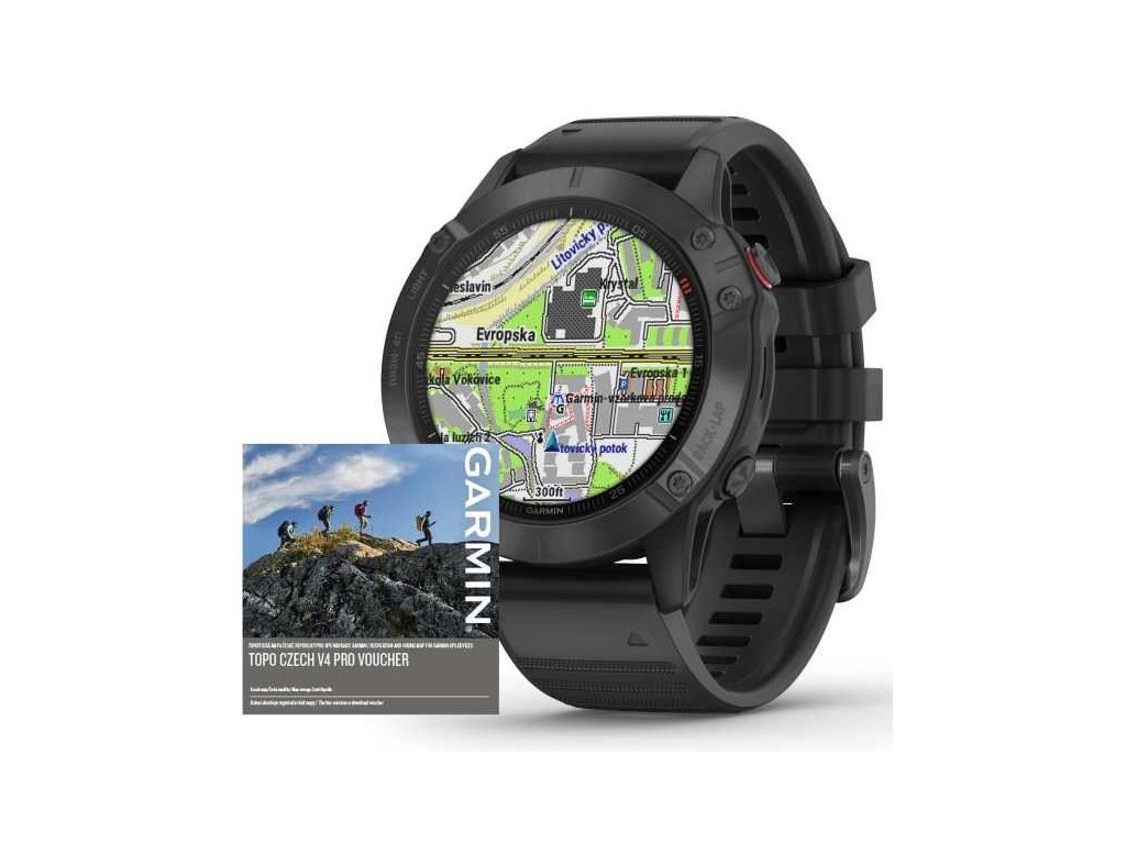 105 garmin fenix6 pro glass black black band map music