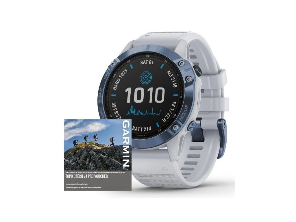 93 garmin fenix6 pro solar titanium blue white band map music