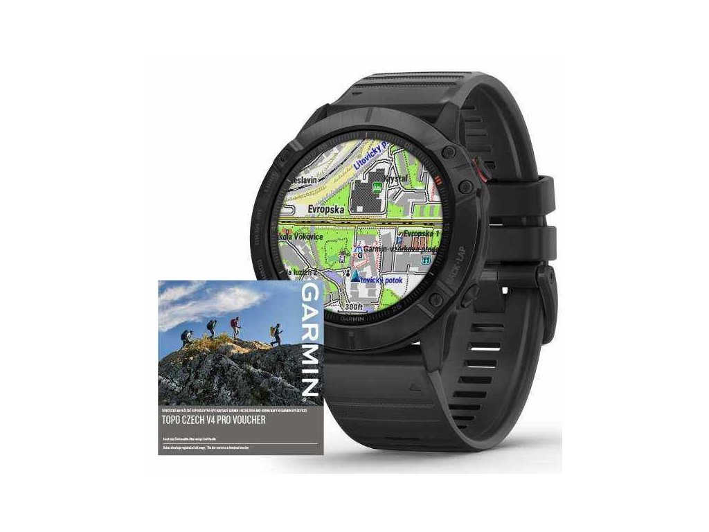 96 garmin fenix6x pro glass black black band map music topo czech