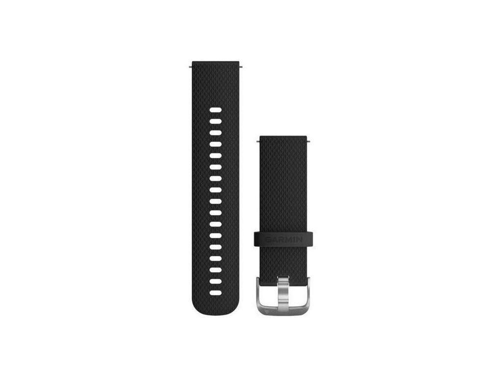 675 1 reminek quick release 20mm silikonovy cerny stribrna prezka