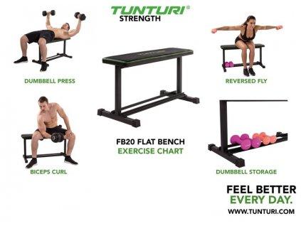 Posilovací lavice TUNTURI FB20 Flat Bench