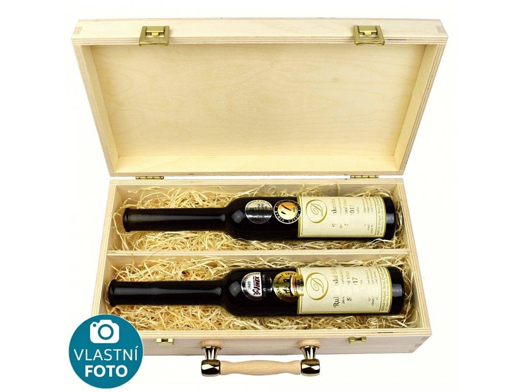Dárkový dřevěný kufr se dvěma láhvemi slámového vína - 0,2 l - Oldřich Drápal