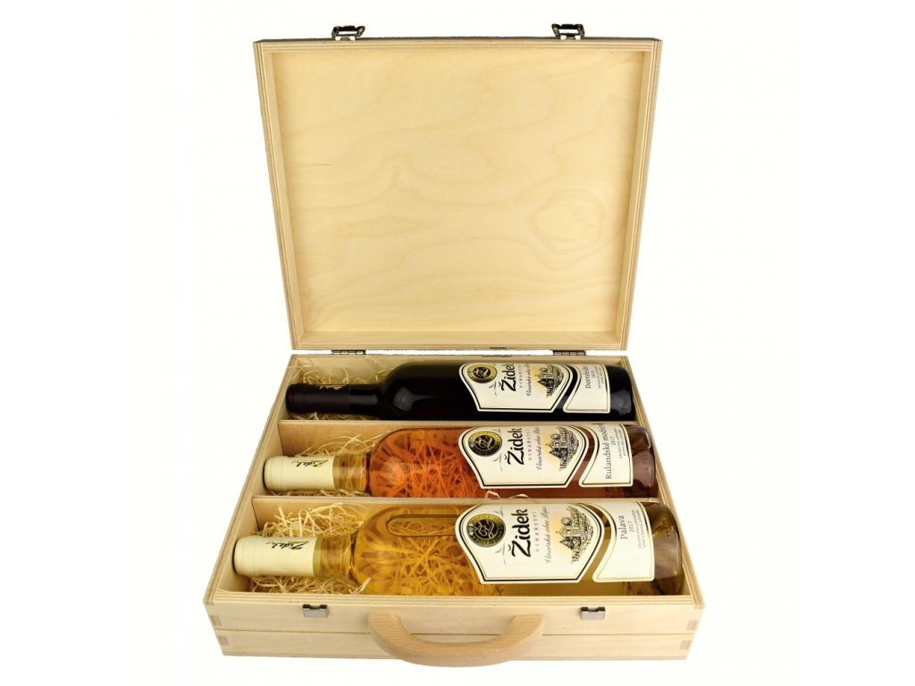Kolekce 3 vín z vinařství Žídek v dárkovém dřevěném kufru - 0,75 l - vinařství Žídek