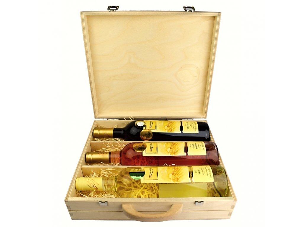 Kolekce 3 vín z vinařství Zborovský v dárkovém dřevěném kufru - 0,75 l - vinařství Zborovský