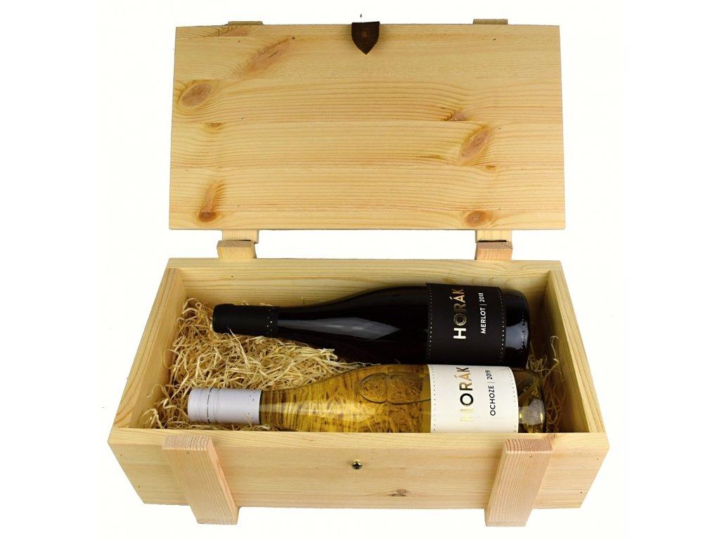 Dárkový dřevěný kufr se 2 láhvemi vína z vinařství Horák - 0,75 l - vinařství Horák