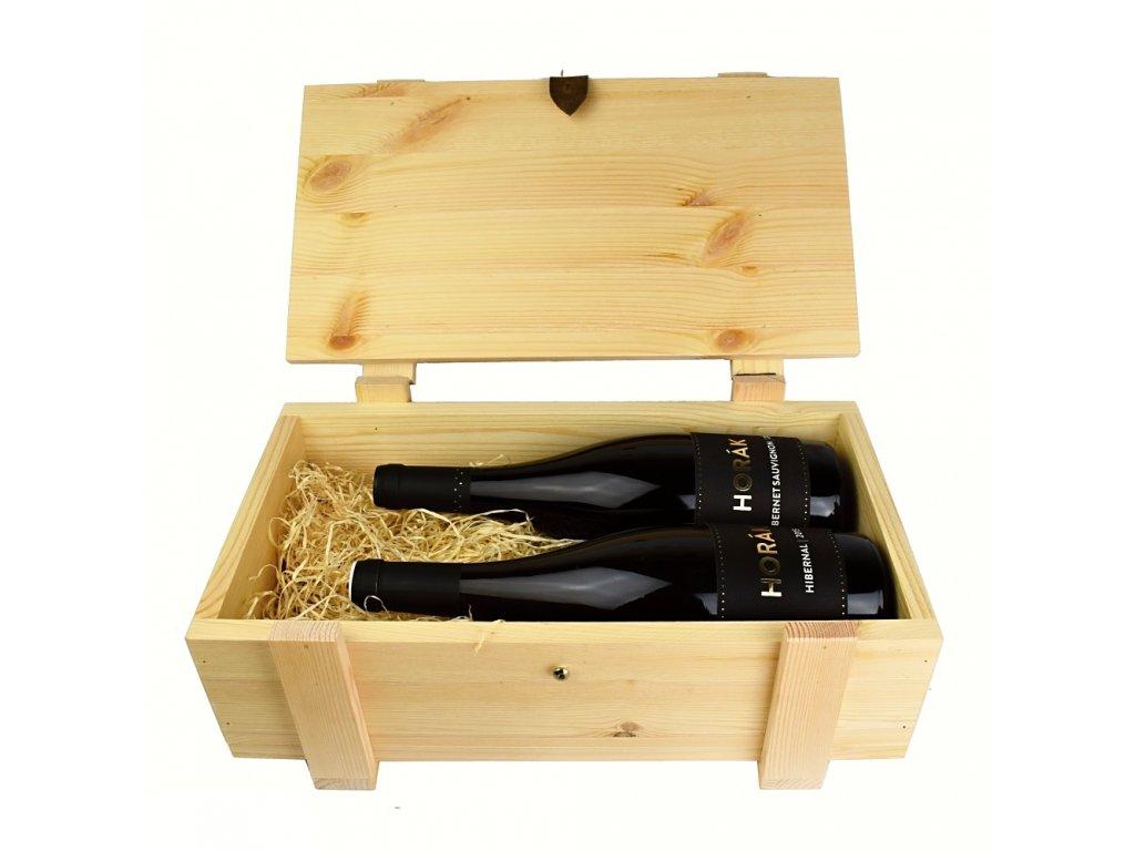 Dárkový dřevěný kufr se dvěma láhvemi vína z vinařství Horák - 0,75 l - vinařství Horák