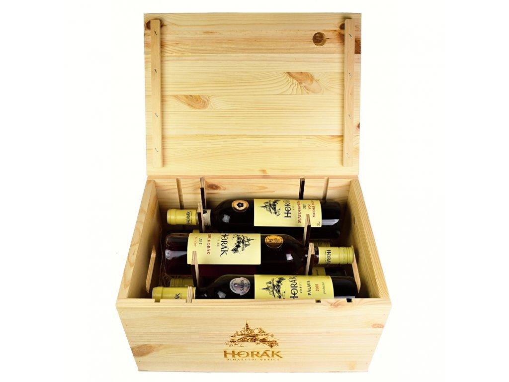 Dárkový dřevěný box se 6 láhvemi vína z vinařství Horák - 0,75 l - vinařství Horák