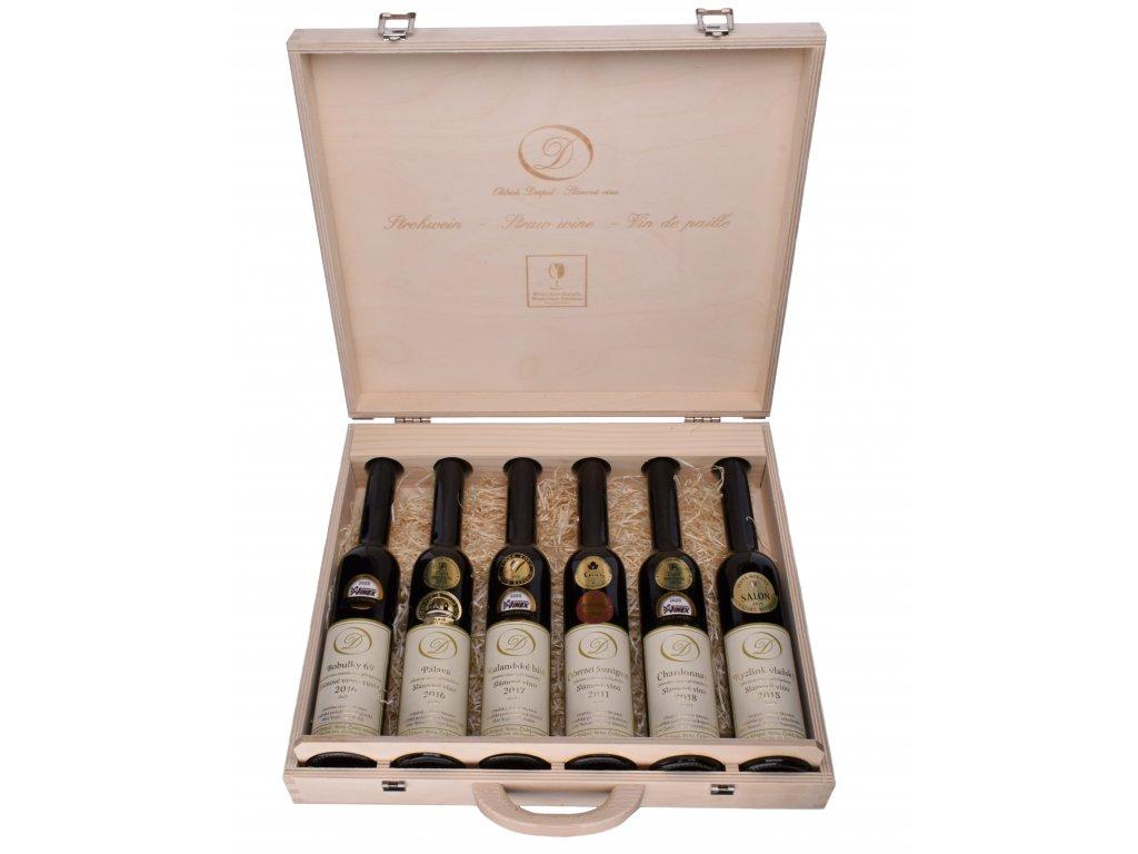 Dárkový dřevěný kufr se 6 láhvemi slámového vína - 0,2l - Oldřich Drápal