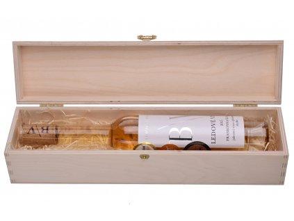 Dárková dřevěná krabička s ledovým vínem Frankovka Klaret 2015 z vinařství B/V - 0,2l