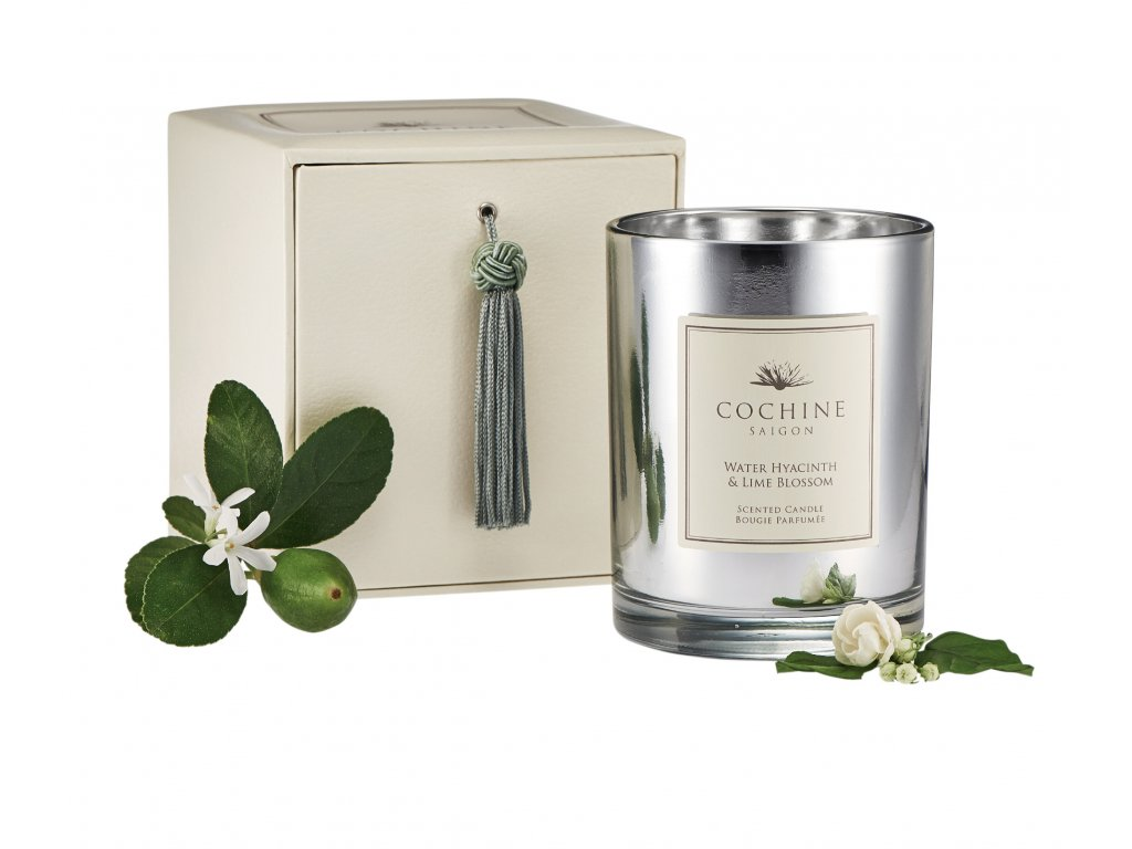 WaterHyacinthLime Candle With box and flower 0764