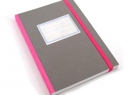 Stará škola, šedý, zápisník, <A5
