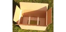Krabice na oddělky 39x24 rozložená se sítem a laťky 5 rámků