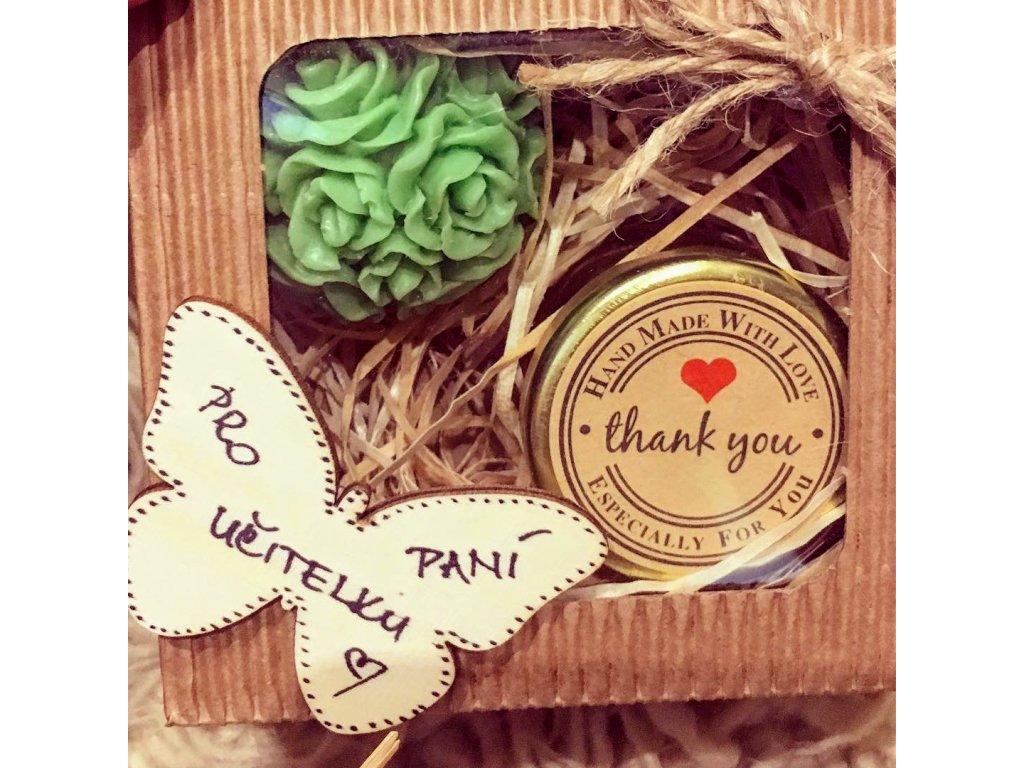 Medová sada malá s motýlkem pro paní učitelku