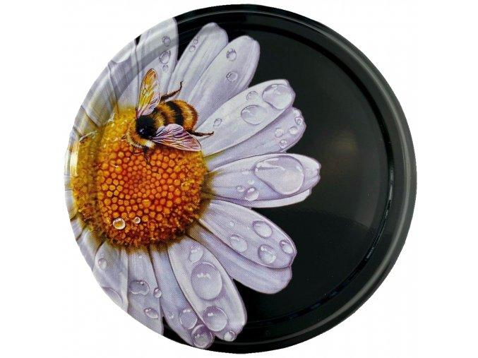 Víčko včelka na květu - černé pozadí TO 82