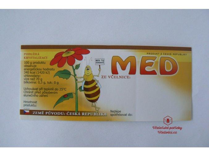 Samolep etiketa med(kreslená včelka)