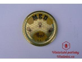 Víčko zlaté TO 82 MED 3 včely a kopretina