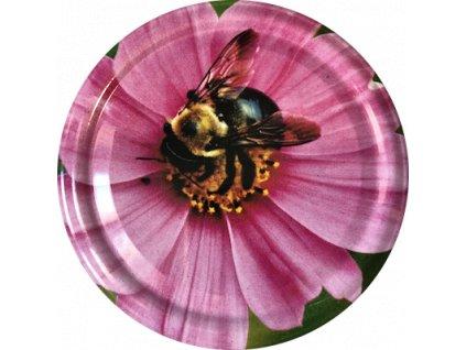 Včelka na růžovém květu 4