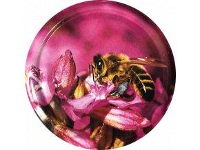Včelka na růžovém květu 2