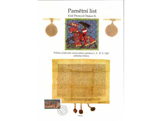 Pamětní list - 750 let Polička