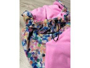 Softshelová kapsa malá - barevné puntíky na šedé