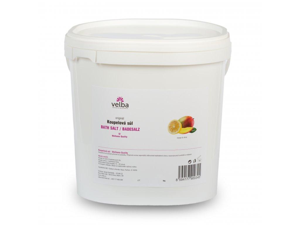 Velba koupelová sůl mango & citrus 5 kg,  MAXI hrubozrnná 1,6 - 6,3 mm