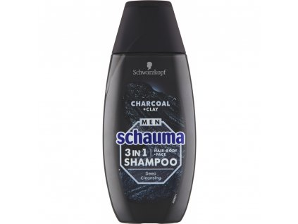 Schauma Men šampon Charcoal & Clay 3v1, 250 ml